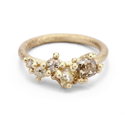 Champagne Diamond Tapering Cluster Ring