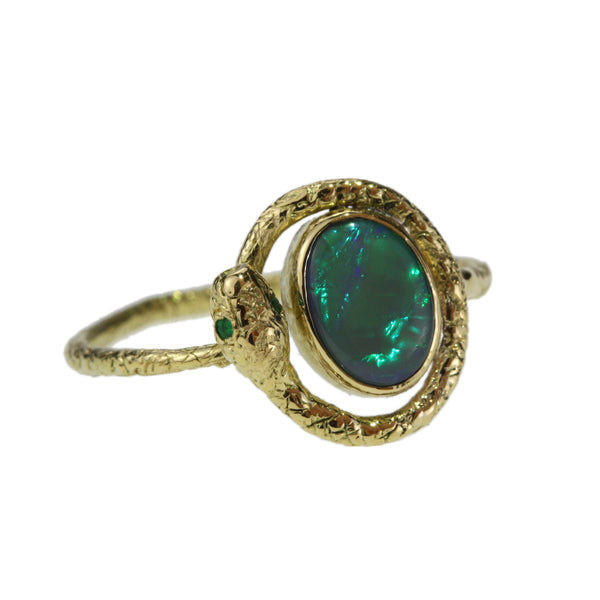 Opal and Emerald Snake Ring