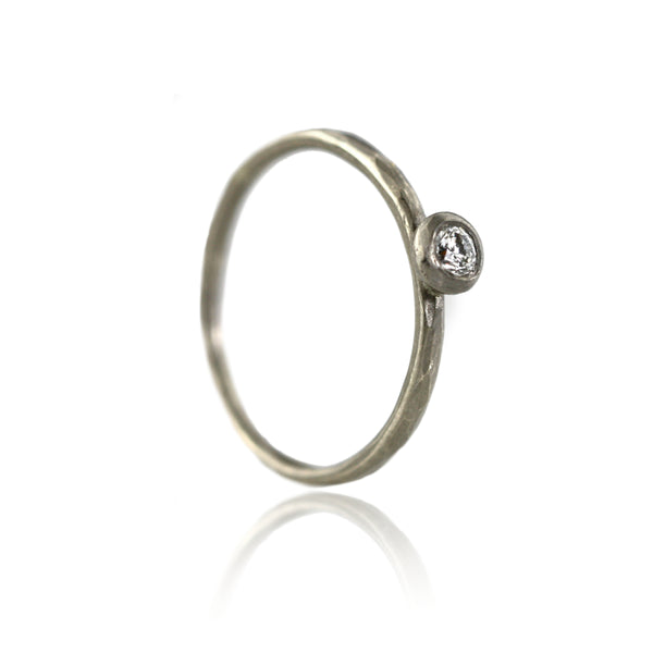 Dainty Hammered 18ct White Gold and Diamond Ring
