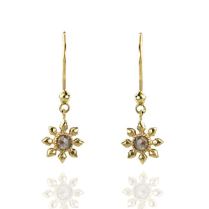 Floral 9ct Gold and Rose Cut Grey Diamond Drop Earrings