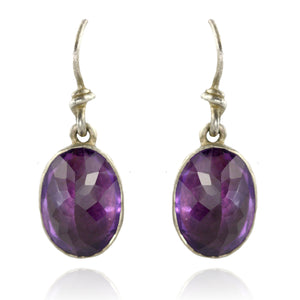 Faceted Amethyst Hanging Earrings