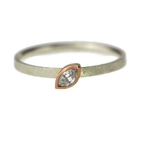 Dainty Marquise Diamond And Mixed Gold Ring