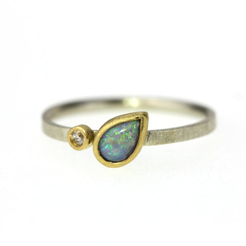 Pear Opal and Diamond Ring