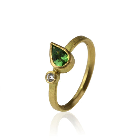 Pear Tsavorite and Diamond Ring - Made To Order