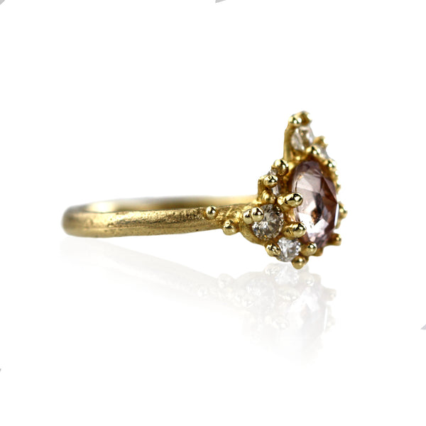 Pink Sapphire Sweeping Cluster Ring