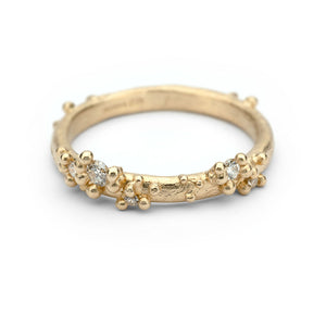 Half Round Band With Diamonds and Granules