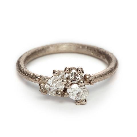 Contrast Cut Diamond Trio Ring