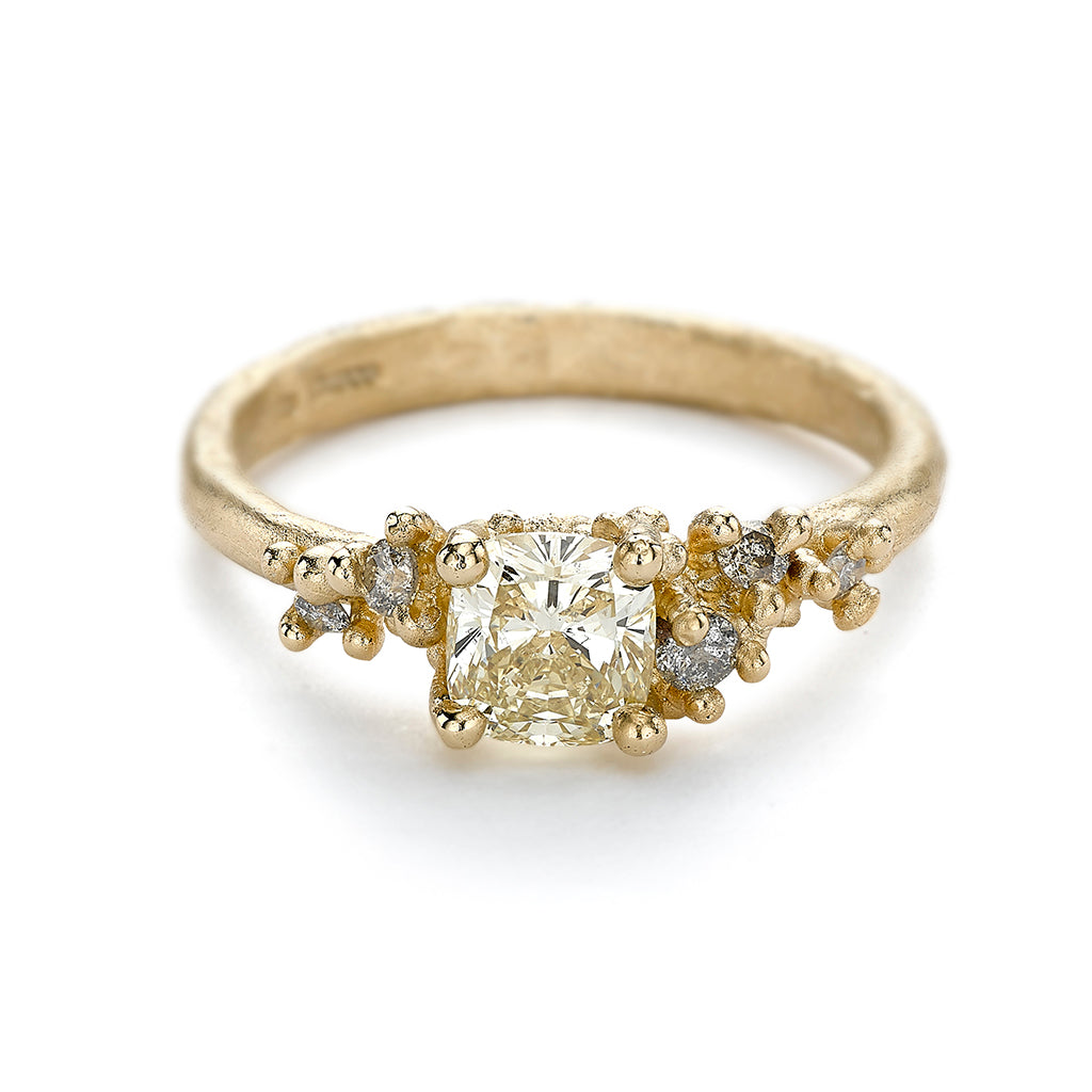 Encrusted Antique Yellow Diamond Ring