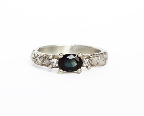 Green Oval Sapphire Trilogy Ring