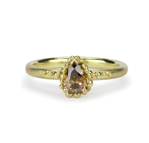 Champagne Pear Diamond Cluster Ring