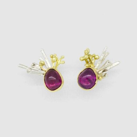 Hyphae Rhodolite Earrings - Made To Order