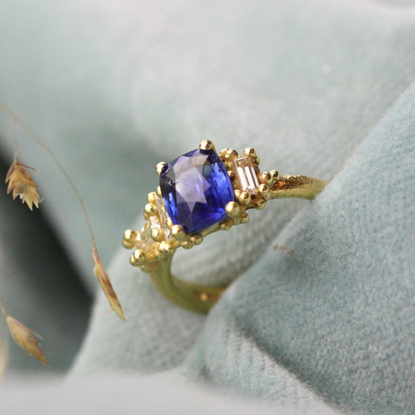 Blue Sapphire Luminous Cluster Ring