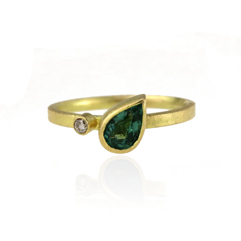 Asymmetric Tourmaline And Diamond Ring