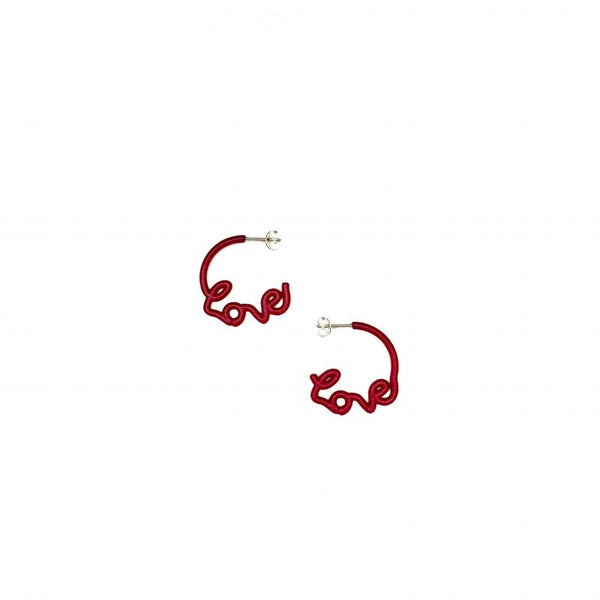 Small LOVE Hoop Earrings Bordeaux