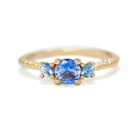 Three Stone Sapphire Cluster Ring