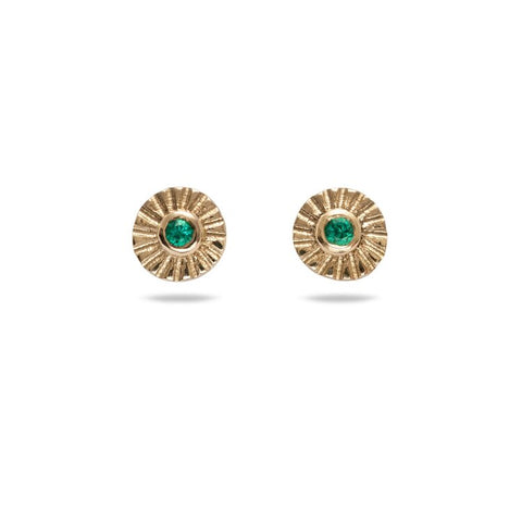 Tiny Emerald Sunray Studs