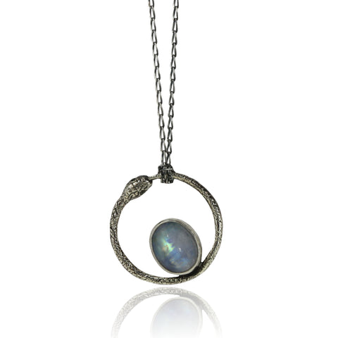 Moonstone Ouroboros Snake Necklace