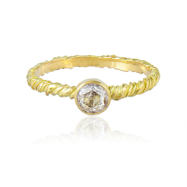 Twisted Salt and Pepper Solitaire Ring