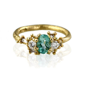 Soft Green Emerald and Scattered Diamond Ring
