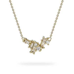 Mixed Diamond Bar Necklace