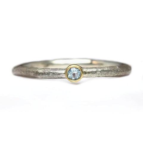 Sandcast Silver and Aquamarine Ring