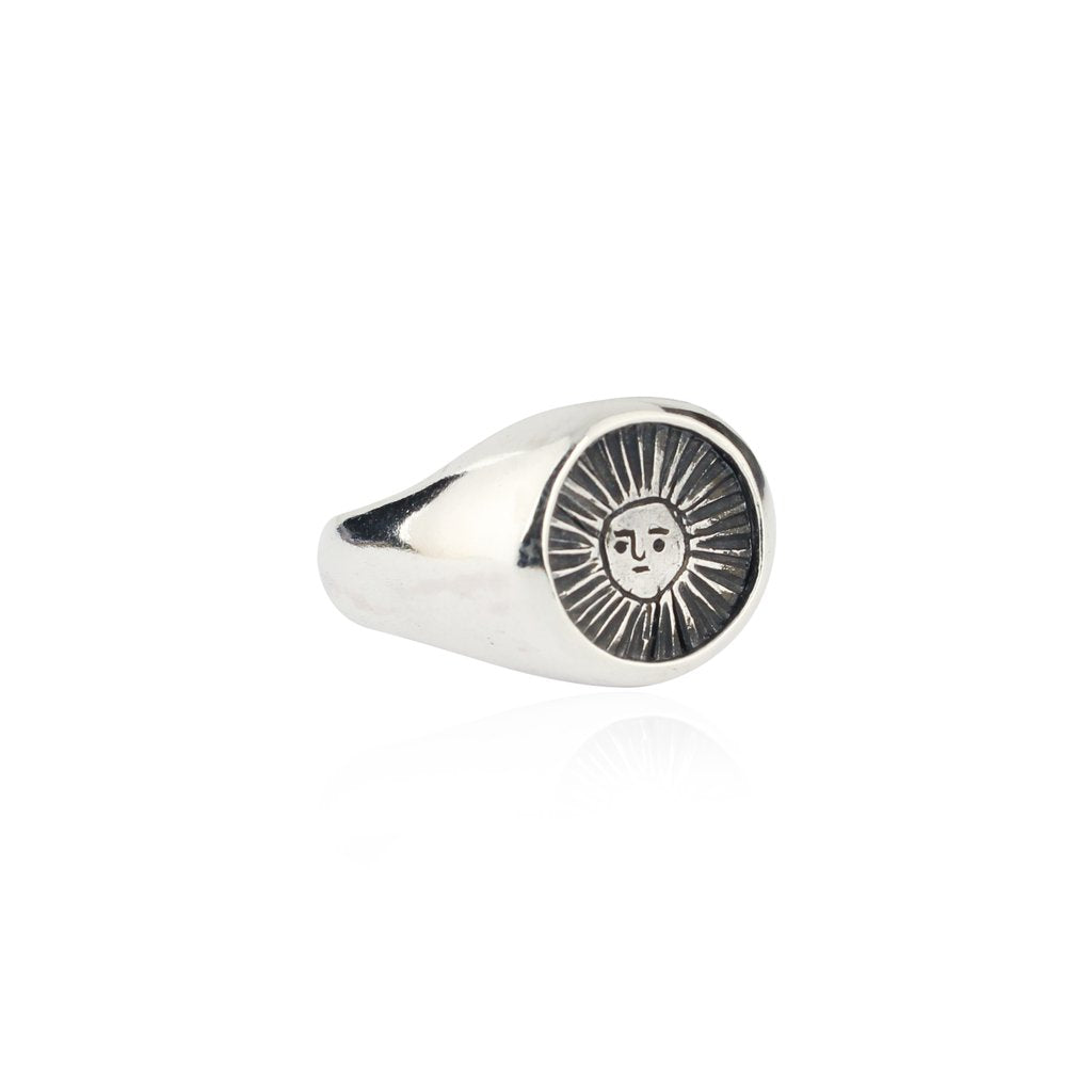 Sun Signet Ring in Oxidised Silver