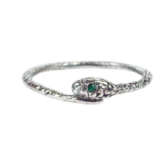 Gill Wing Jewellery Momocreatura Silver Emerald Snake Ring