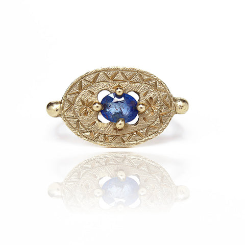 Sapphire Shield Signet Pinky Ring