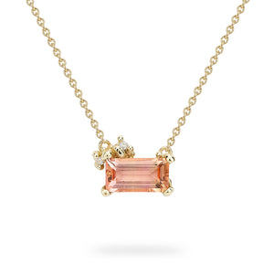 Emerald Cut Pink Tourmaline Necklace