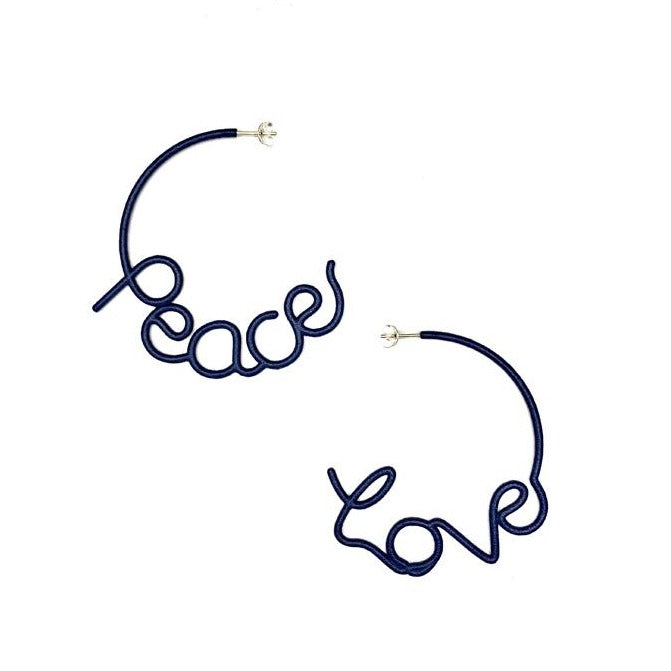 Medium PEACE AND LOVE Hoop Earrings Navy
