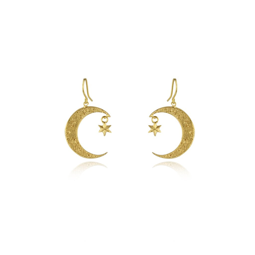 Golden Crescent Moon and Star Earrings