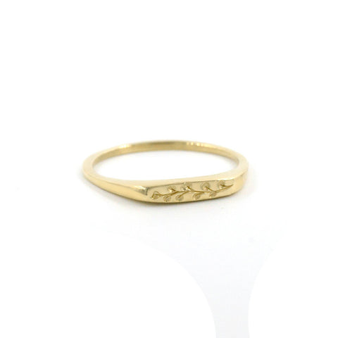14ct Gold Eucalyptus Petite Signet Ring