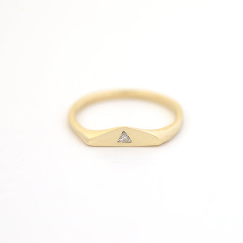 14ct Gold Diamond Triangle Symbolic Ring