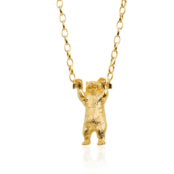 Golden Handcuffed Bear Necklace