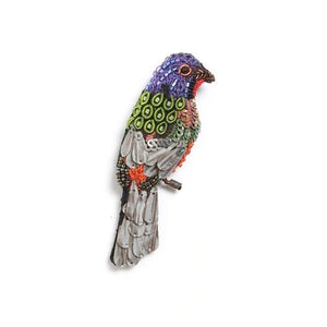 Painted Bunting Bird Brooch Pin