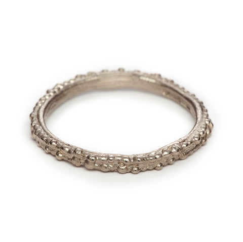 Beaded White Gold Band
