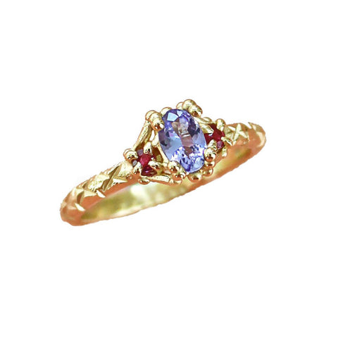 Tanzanite and Ruby Trio Ring