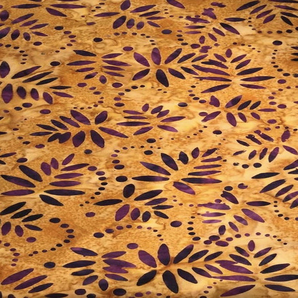 121 colB Gold Batik w Purple Leaf