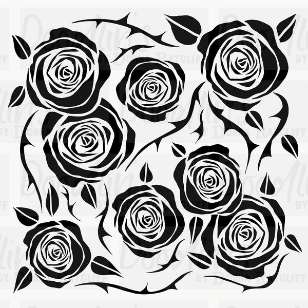 Roses 'n' Thorns - Art Stencil