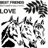 Three Friends - Horses Art Stencil