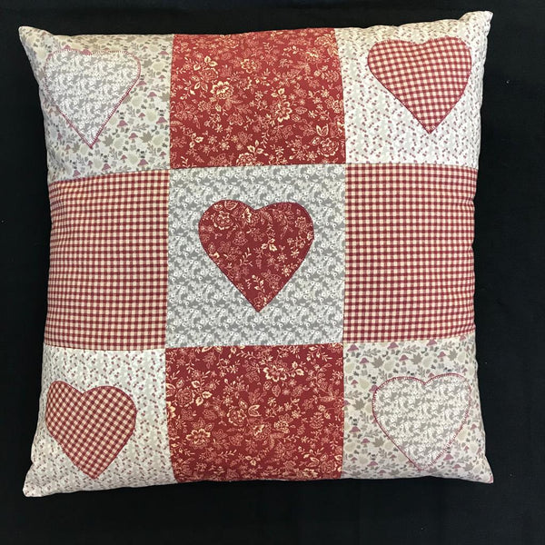 Happy Heart Applique Cushion Kit - Red