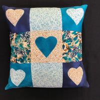 Happy Heart Applique Cushion Kit - Blue