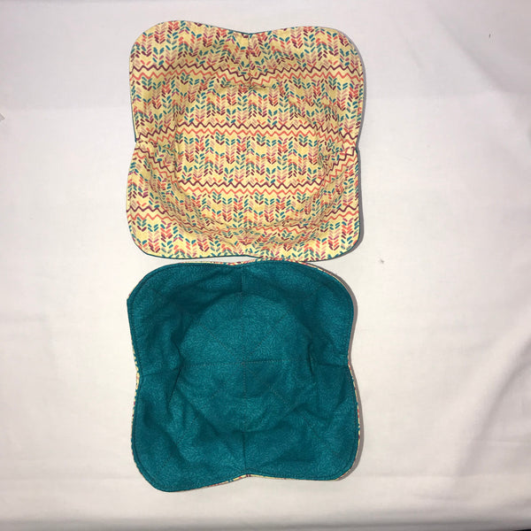 Reversible Fabric Bowl Holder Sewing Kit- Teal/Beige Multi