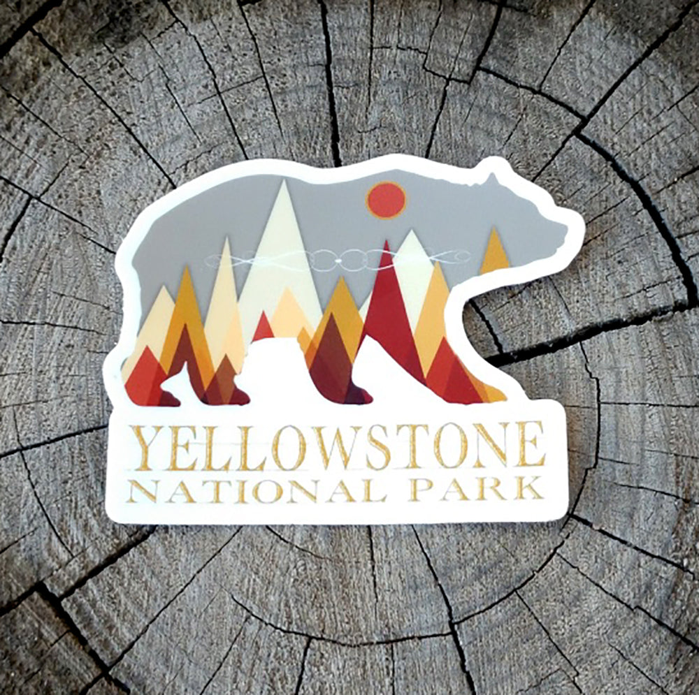 Yellowstone National Park Grizzly Bear Vinyl Sticker - TSUNRISEBEY