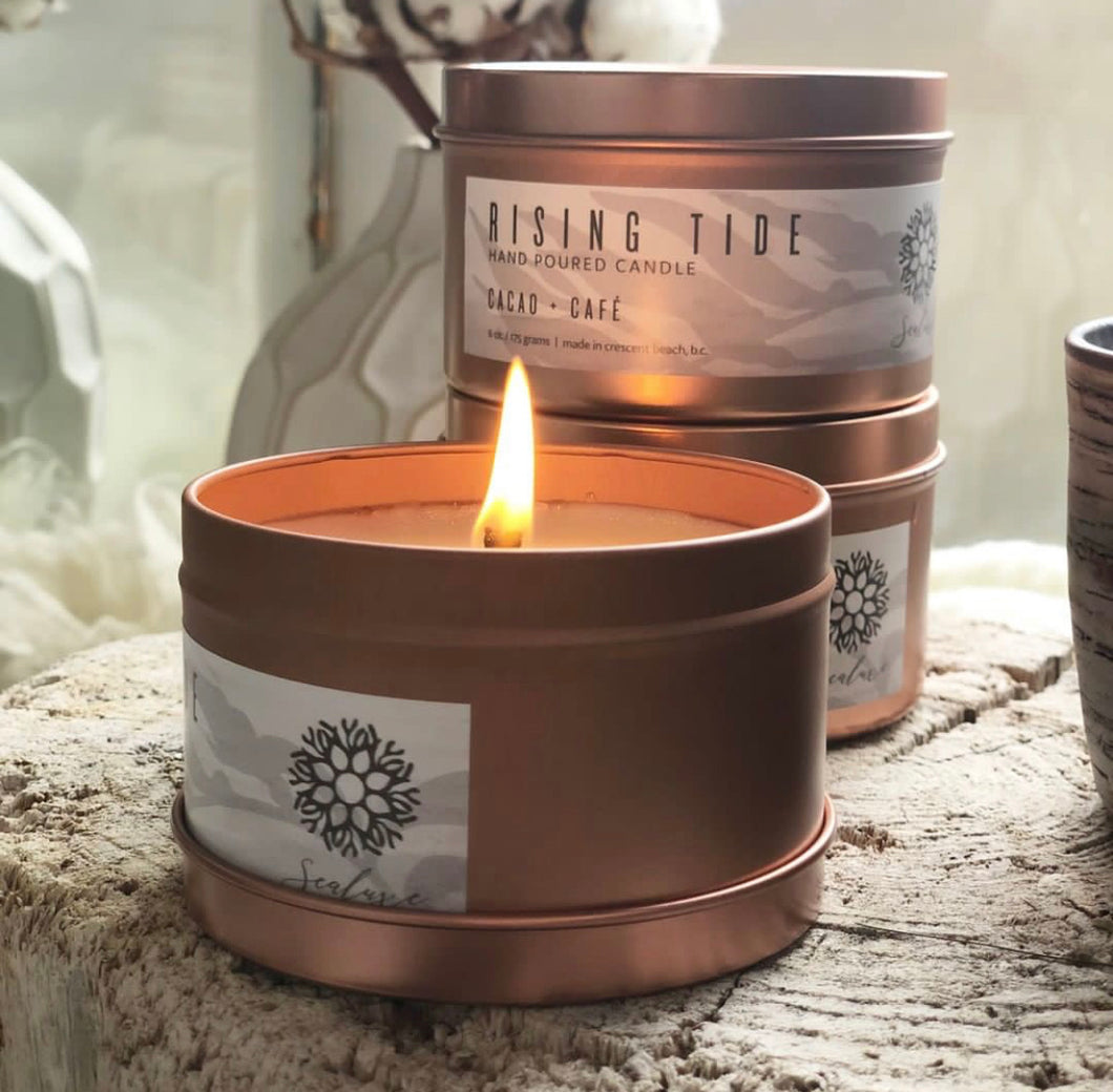 Rose Gold Tin Candles ($20) Sealuxe