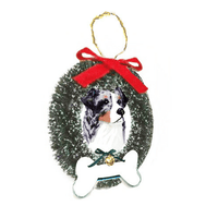 Australian Shepherd Wreath and Bone Ornament