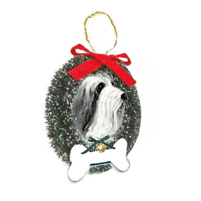 Bearded Collie Wreath and Bone Ornament