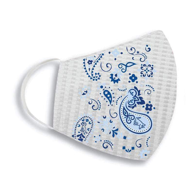 Teddy the Dog Face Mask- Classic Blue Paisley