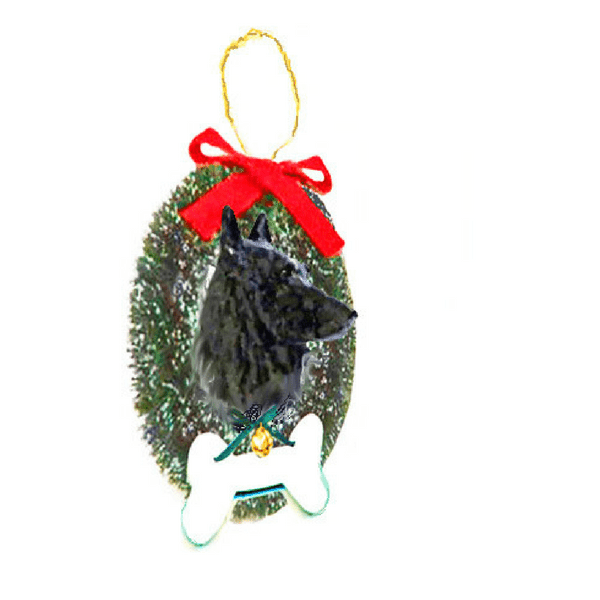 Belgian Sheepdog Wreath and Bone Ornament