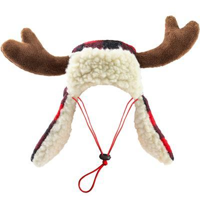 Buffalo Check Trapper Dog Hat With Antlers